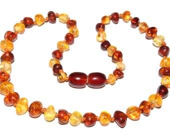 Genuine Baltic Amber Baby Teething Necklace Lemon / Cognac