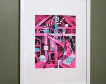 The Alchemist's Lair, framed risograph print