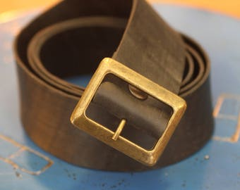 Vegan Reev belt. Reusage inner tube carry the Tablet metal belt buckle gold vieili