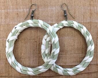Round Hoop Sweetgrass Earring