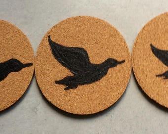 Cork Coasters  Three Flying Ducks