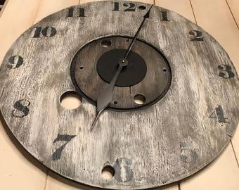Oversized Gray Wall Clock, Farmhouse Wall Clock, Rustic Clock, Industrial Clock