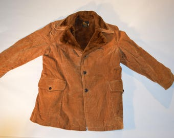 Vintage WEATHERCASTER Brown CORDUROY Coat Size 46