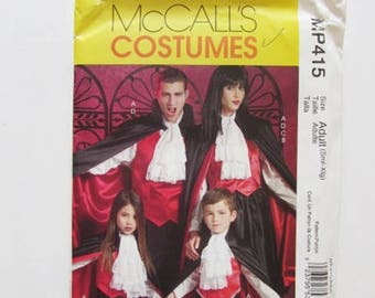 Vampire Costume - Cape and Jabot, Couple's Costume Adult Sizes, McCall's MP415- Uncut
