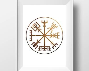 Runic Compass Print - Norse Mythology - Rune Print - Pagan Gift - Viking Decor - Viking Print - Viking Gift - Vegvisir Print - Pagan Decor