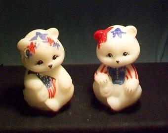 Two Fenton Patriotic Hand Painted Bears