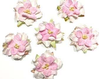 Two Tone Fresh Pink Mulberry Paper Gardenias Pg004