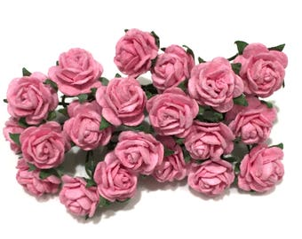 Deep Pink Open Mulberry Paper Roses Or036