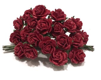 Deep Red Open Mulberry Paper Roses Or127
