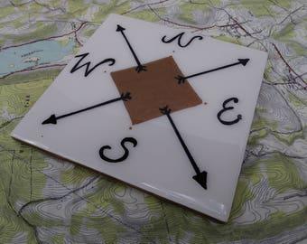 6x6 Wanderlust Square Ceramic Tile Trivet Compass Travel Wall Decor