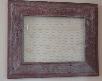 Barnwood and Chicken Wire Wallhanging, Rustic Wall decor
