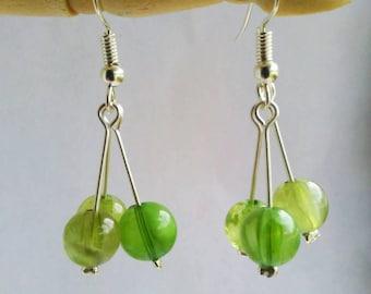Green Beaded earrings, cluster earrings, drop earrings, green and silver, gift for her