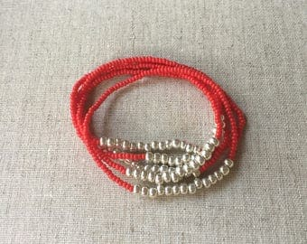 Seed Bead Stretch Layering Bracelet- Red