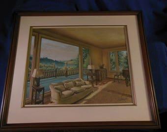 Original Pastel Watercolor Painting Architecture Landscape Signed 1940's