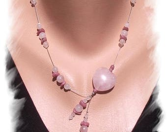 NECKLACE in ROSE QUARTZ and RHODONITE, Silver 925