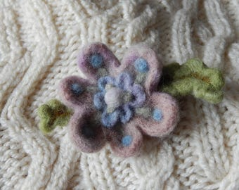 Pink and Blue Blossom Brooch - needle felted