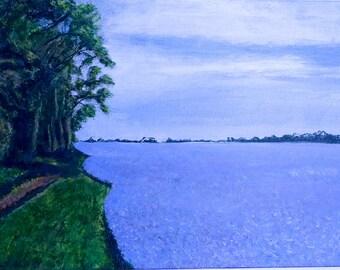 Linseed field original acrylic painting