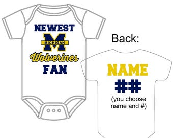Michigan baby etsy newest michigan wolverines fan custom made personalized football gerber onesie jersey you choose name number negle Image collections