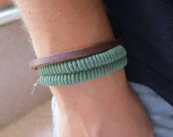 Casual bracelet in synthetic leather, green, 61 mm