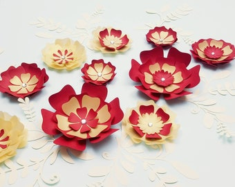 Paper flowers wall, Nursery paper flowers, Small paper flowers decor, Home decor, Girl's room paper flowers, Small paper flowers, Nursery