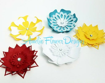 Small paper flowers table decor. Table centerpieces. Custom table decor. 40 event table centerpiece. Wedding table decor.