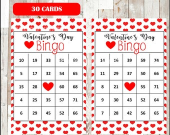 30 Valentines Bingo Cards, Printable Valentine Bingo Cards, Valentine's Day Game for kids, Red Hearts, Instant Download