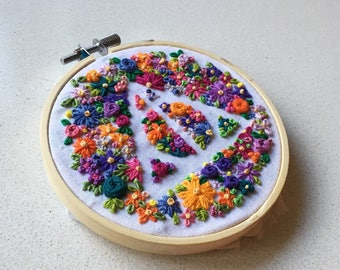 """Floral Deathly Hallows 4"""" Hand Embroidery"""