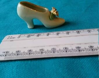Vintage Miniature Bridge Pottery China Shoe