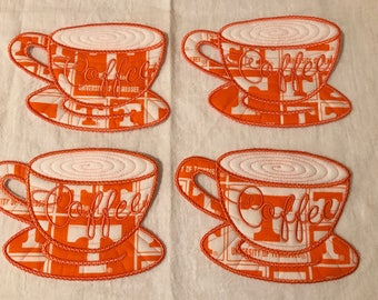 Tennessee embroidered fabric coasters
