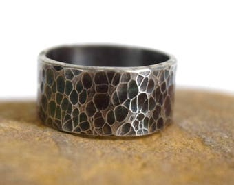 Hammered ring, textured ring, Sterling Silver ring, ring size 8 1/2