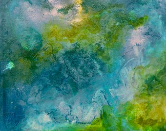 Abstract blue and green painting