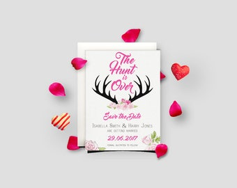 The Hunt is Over Wedding Save The Date Cards