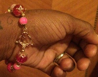 Pink n Yellow Bracelet with Toggle Clasp