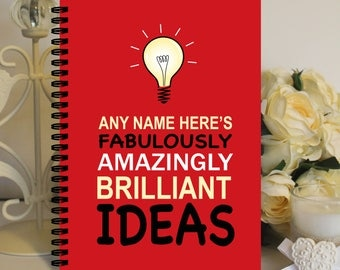 Personalised A5 Notebook Notepad Wirebound Softbacked Amazing, Brilliant Ideas Red Themed