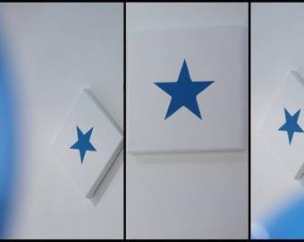 "Whiteboard ""Blue Star"" on cotton canvas"