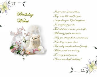 Cute Kittens 2 designs Birthday card inserts with verse