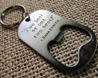 Stainless Steel Dog Tag Bottle Opener Key Ring