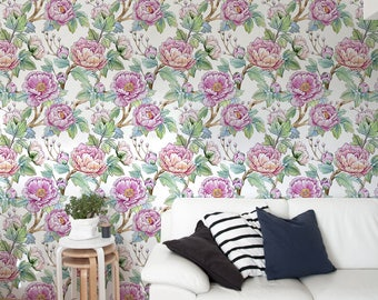 Peony Wallpaper, Peony Self Adhesive Wallpaper, Flower Wall Mural, Floral Wallpaper, Removable, Wall Paper Removable Wallpaper -A215