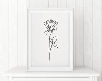 Rose abstract print Line art Wall decor Minimalist art Black and White flower poster Modern art Digital download