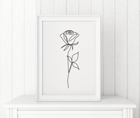 Rose Abstract Print Line Art Wall Decor Minimalist Art Black
