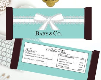 """Baby & Co Candy bar wrappers, baby shower decoration, labels breakfast at favors gifts. 5.25x5.75""""/2-Per Sheet FOR a GIRL {Blue Lace Ribbon}"""