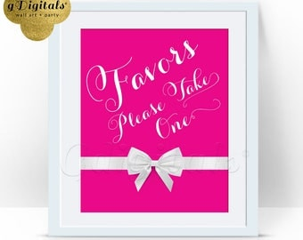 Sweet 16 Favors Sign, pink and white, bridal shower decorations, sweet sixteen, quinceanera, table decor. INSTANT DOWNLOAD 8x10
