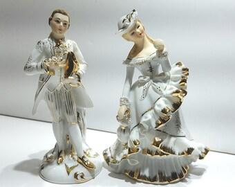 Lefton China Man & Woman Figurines