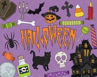 Halloween Clipart Vector Pack, Halloween Doodles, Skull Clipart, Candy Corn Clipart, Halloween Vectors, Halloween Stickers, SVG, PNG file
