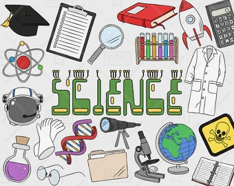 Science Clipart Vector Pack, Science Doodles, Mad Scientist Clipart, Experiment Clipart, Science Graphics, Science Stickers, SVG, PNG file