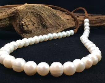 "Freshwater 10mm  Pearls on suede leather  lace 36"" necklace,"