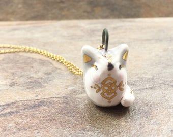 Ceramic boho Fox Necklace, pendant, woodland, gold detail, gold eyelashes, grey, rosy cheeks, 18 inch roll chain, gift for her