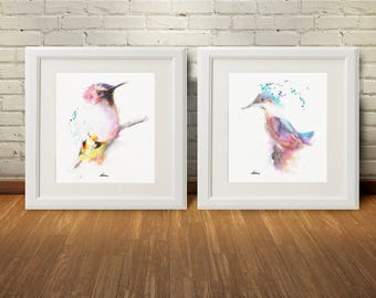 Bird Pink Watercolor Wall Art Print Set 2 Home Decor, Pink Wall Decor Birds Art Print Kitchen Living Room Bedroom Gift Art Print