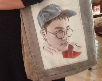 Handmade Kyungsoo handbag/ EXO handbag/textile handbag