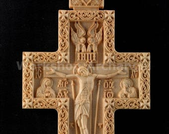 Carved Wooden Crucifix Russian Orthodox carved Pectoral cross Priest Pectoral